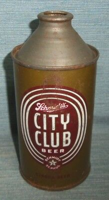 SCHMIDTS CITY CLUB Cone Top Beer Can 12 oz.