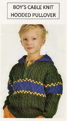 Vintage Knitting Pattern - Boy's Cable Knit Hooded Pullover - Dk - Laminated