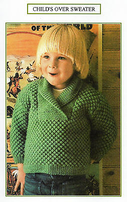 Vintage Knitting Pattern - Child's Over Sweater - Dk - Laminated