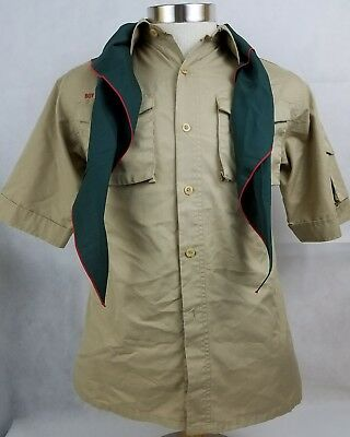Boy Scouts of America Khaki Short Sleeve Shirt Size Youth Large With Green Scarf