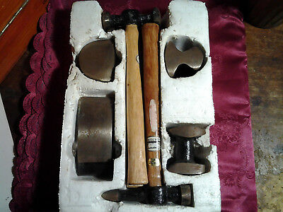 Vintage Panel Beating Set inc. 3 x hammers & 4 Dollies(1980's,Lion Tools)