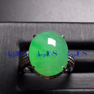 18K Gold Certified 100% Natural A Jade Big Green Egg Noodles Ring Jewelry JD1372