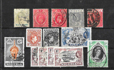 Old  KEVII KGV, KGVI & QEII  stamps on stock card. NIGERIA (+Southern), Used