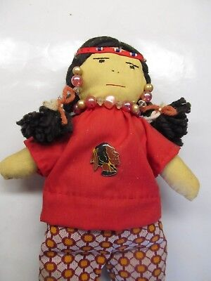 "Vintage Handmade Hand Sewn Native American Indian 13 ¼"" Cloth Doll with Beads"