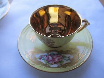 limoges france tea cup yellow with gold