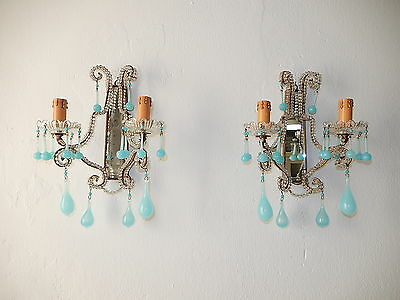 ~c 1930 French Beaded Blue Opaline  Mirrors Sconces~