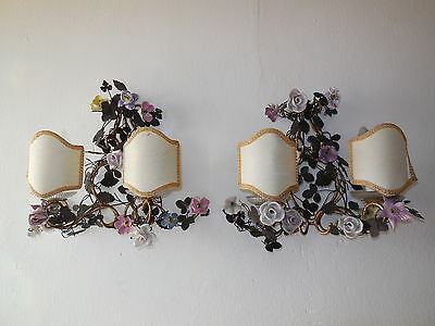 ~19th C French Huge Porcelain Flowers Roses Tole Sconces Stunning Vintage Old!~