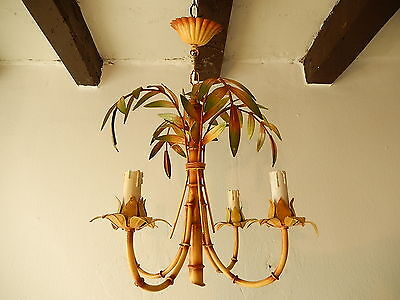 ~c 1950 French Tole Palm Tree 4  Light Chandelier Vintage Original Rare~