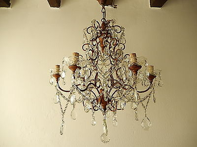 ~c 1920 French  Crystal Prisms Swags OLD Chandelier RARE ~