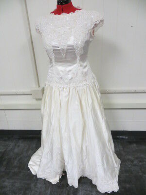 After Six Brand Wedding Gown/Beaded Dangled Sleeves/Bow/Sz 20/Yellowing/Stains