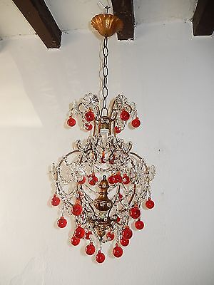 ~c 1930 French Red Murano Drops Crystal Prisms Swags OLD Chandelier RARE ~