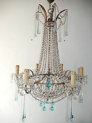 ~c 1930 French Aqua Blue Empire Bronze Beaded Basket Crystal Prisms Chandelier~