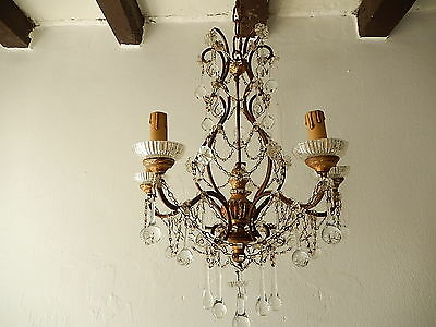 ~c 1920 French Baroque Crystal Prisms Swags OLD Chandelier RARE ~