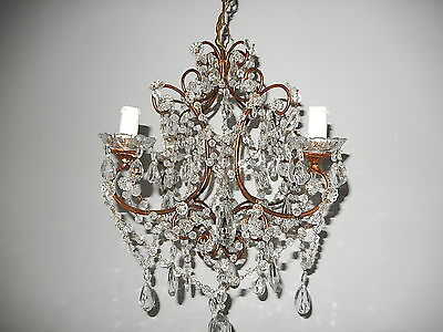 ~c 1920 French Crystal Prisms Swags OLD Chandelier GORGEOUS RARE Loaded~
