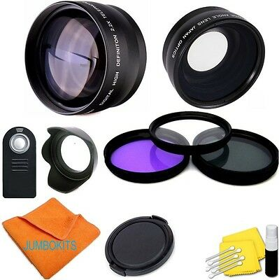 Wide Angle Lens + Zoom Lens + Remote + Filters For Canon Rebel Sl1 T3I T5I T6I