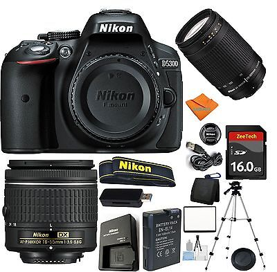 Nikon D5300 Camera Bundle + Nikon AF-P 18-55mm + 70-300mm G + 16GB Card + Tripod
