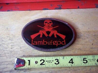 Lamb Of God Silver Tone Black Red Hard Rock And Roll Metal Band Belt Buckle