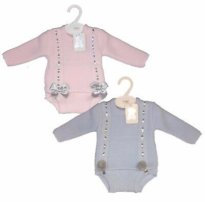 New Infants Romany Style Spanish Pom Pom/Bow Knitted 2 Piece Adorable Jam Suits