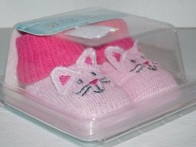 Infant Kitty Cat Baby Booties Pink Socks 0 - 12 Months
