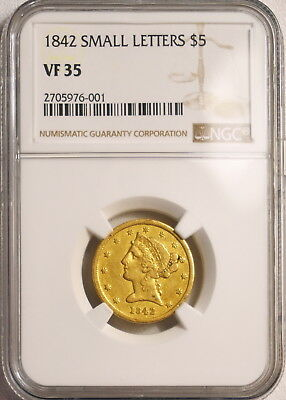 1842 NGC VF35 $5 gold **VERY RARE** Pop 1, ONLY 22 in ALL grades, looks XF