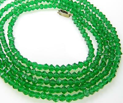 "Old Green English-Cut Czech Glass Beads Necklace 53"" Long"