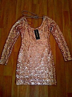 New With Tags Gold Sequinned Long Sleeve Mini Dress Uk 8-10 Christmas Party Club
