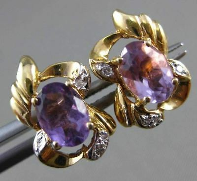 Antique Large 1.88Ct Diamond & Amethyst 14K Two Tone Gold 3D Post Earrings 24268