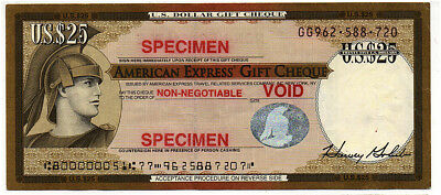 25 dollars note COLLECTION AMERICAN EXPRESS GIFT TRAVELERS CHEQUE - SPECIMEN