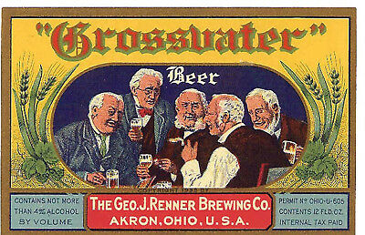 Renner Brewing Grossvater Beer T Shirt Akron Ohio Sizes Small-Xxxlarge (F)