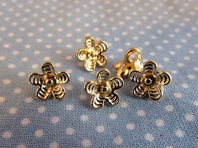 9mm Metal Gold Flower Shaped Shank Shirt Blouse Buttons in Assorted Pack Sizes