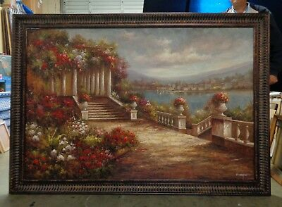 Extra Large Mediterranean Coast Oil Painting in Bronze Finish Wood Molding Frame