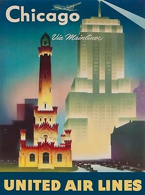 Chicago by Mainliner United Air Lines U.S. Vintage Travel Art Poster Print