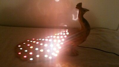 vintage Holland Mold Lighted Peacock Lamp