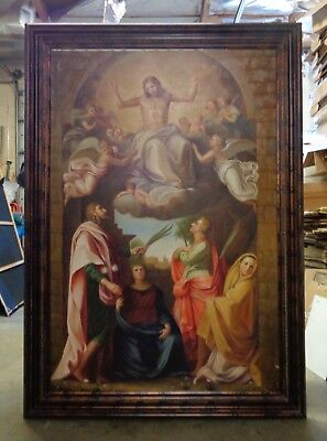 Extra Large Apparition of Jesus Oil Painting in Bronze Finish Wood Molding Frame