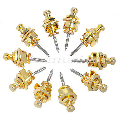 10 Pcs Golden Schaller Style Strap Locks For Electric Acoustic Guitar Bass
