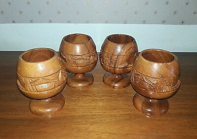 1950's vintage carved wood tiki goblets Hawaiian tropical set of 4 50's