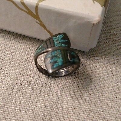 GLAM Vintage ring mosaic turquoise chip inlay inlaid bypass sterling silver 6.5