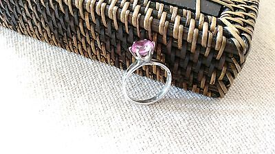 Vintage RING Sterling Silver pink crystal faceted solitaire sz 7