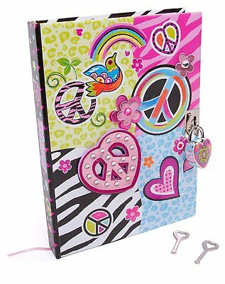 Kids Girls Peace Diary with Keys and Heart Shaped Lock Thoughts Secrets Journal