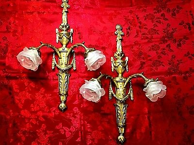 Pair of Antique French Empire 2 light Brass wall Sconces
