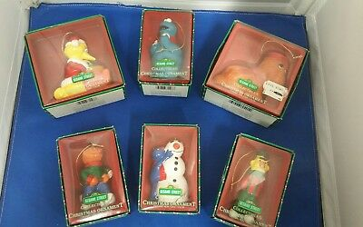 Lot of 6 Vintage Sesame Street Ceramic Christmas Ornaments in Original Boxes