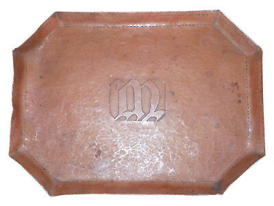 """Antique Hand Made ARTS & CRAFTS MISSION Style Hammered COPPER TRAY """"M"""" Monogram"""