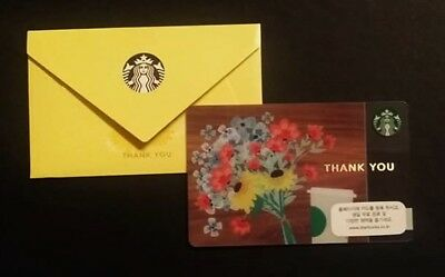Starbucks Card Korea Thank You Flower With Envelope Sammelkarte, Gift Card, Neu