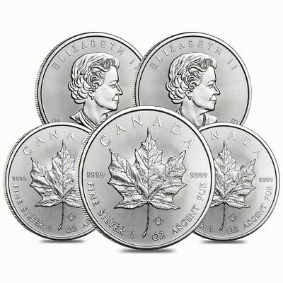 Lot of 5 - 2018 1 oz Silver Canadian Maple Leaf .9999 Fine $5 Coin BU