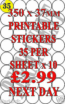 37mm Round A4 Sticky Circle Blank Printer Labels. 35 per sheet (350 Labels)