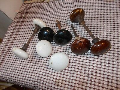 Antique Salvaged  Porcelain White,BLACK,BROWN,  DOOR   KNOBS LOT OF  9