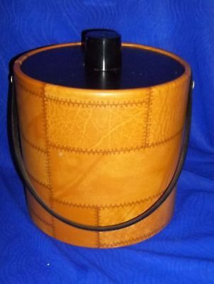 Vintage Irvinware 1977 Ice Bucket W/ Leather Look- New in Box, Made in USA