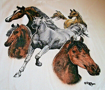 "Horses Galore T-shirt "" Natural "" Large ( 42 ~ 44 )"