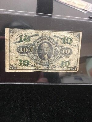 US Civil War Fractional Currency 10 cents; 1863 3rd Series FR-1255; No Reserve
