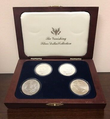 Morgan and Peace Silver Dollars - Set of 4 with Display Case